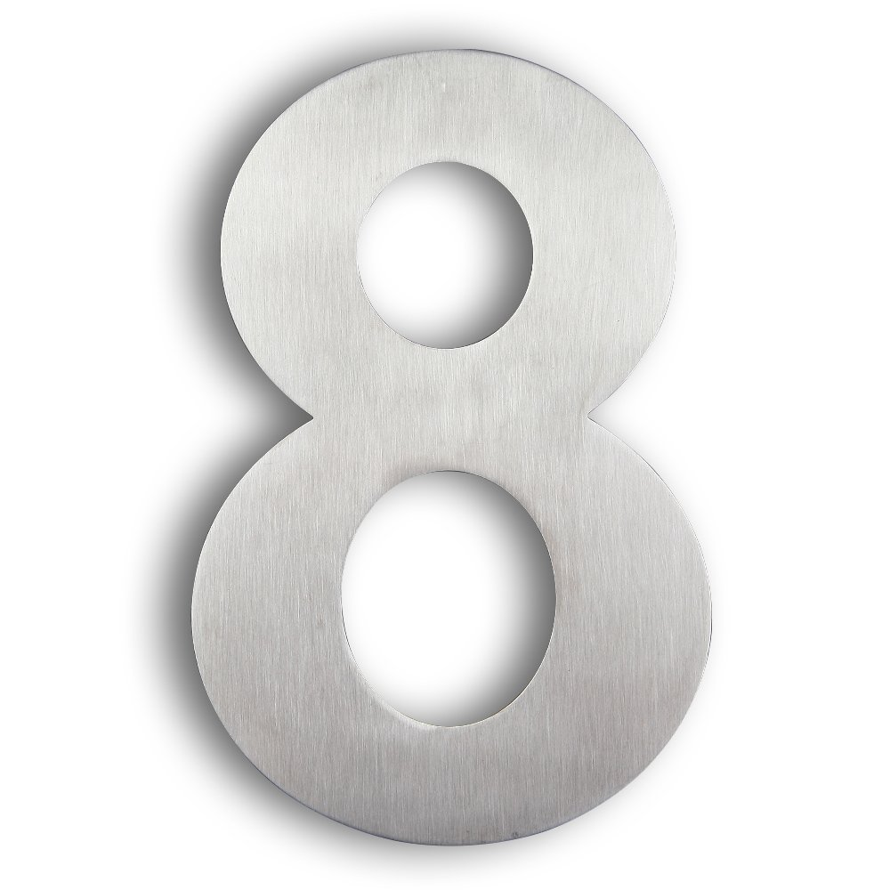Mellewell House Number Floating 8 inch Stainless Steel Outdoor Numerals Brushed Nickel, Number 8 Eight, HN08-8 by Mellewell