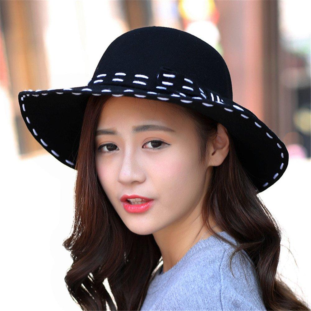 Mujer femenina todos sombrero negro-match hat Autumn Spring arco sombrero femenino,ajustable, la lín...
