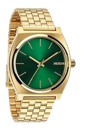 Nixon Time Teller, Nixon Reloj para Hombre Acero Inoxidable Official Oro - Verde: Amazon.es: Relojes