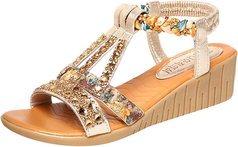 Compensées sandales Open Toes Boucle Bride Arrière Talons Hauts Plage Vacances Chaussures