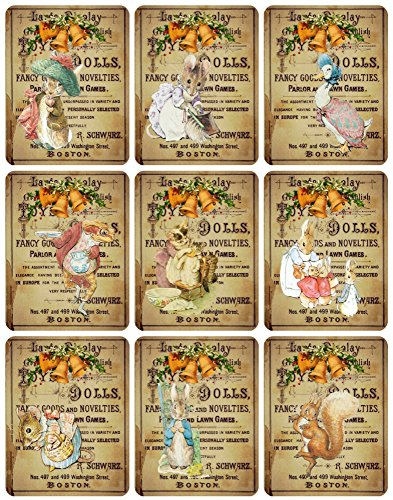 Peter Rabbit Collection Vintage Victorian Christmas Graphics Collage Sheet, Digital Scrapbooking, Prints, ATC, Gift Tags 8.5 x 11