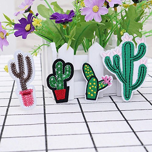 Plant Fabric - 333 4pc Patches On Appliques Embroidered Fabric Swing Patch Cactus - Suede Corduroy Green Linen Cactus Plain Drainage Winter Flamingo Cover Print Color Child Knit Cloth Shower Ba