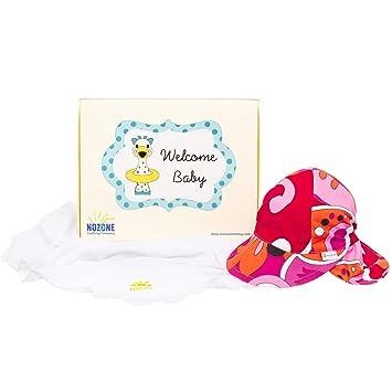 2da787d57 Nozone Blanket & Flap Hat Baby Girl Gift Box Set - Sun Protection -  White/Brandie, 0-6 Months