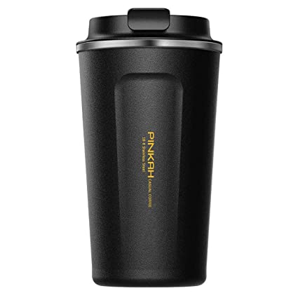 Coffee To Go Cupstumblertravel Mugdouble Wall Stainless Steel Insulated Vacuum Cup With Lid For Travel To Go Hotcold Drinkware Black