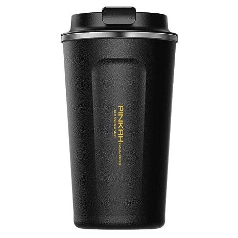 PINKAH Tazas de café/Vaso/Taza de Viaje, Ventosa con Tapa de Acero Inoxidable de Doble Pared con Tapa para Taza Caliente/fría Travel & To Go, 510 ml / ...