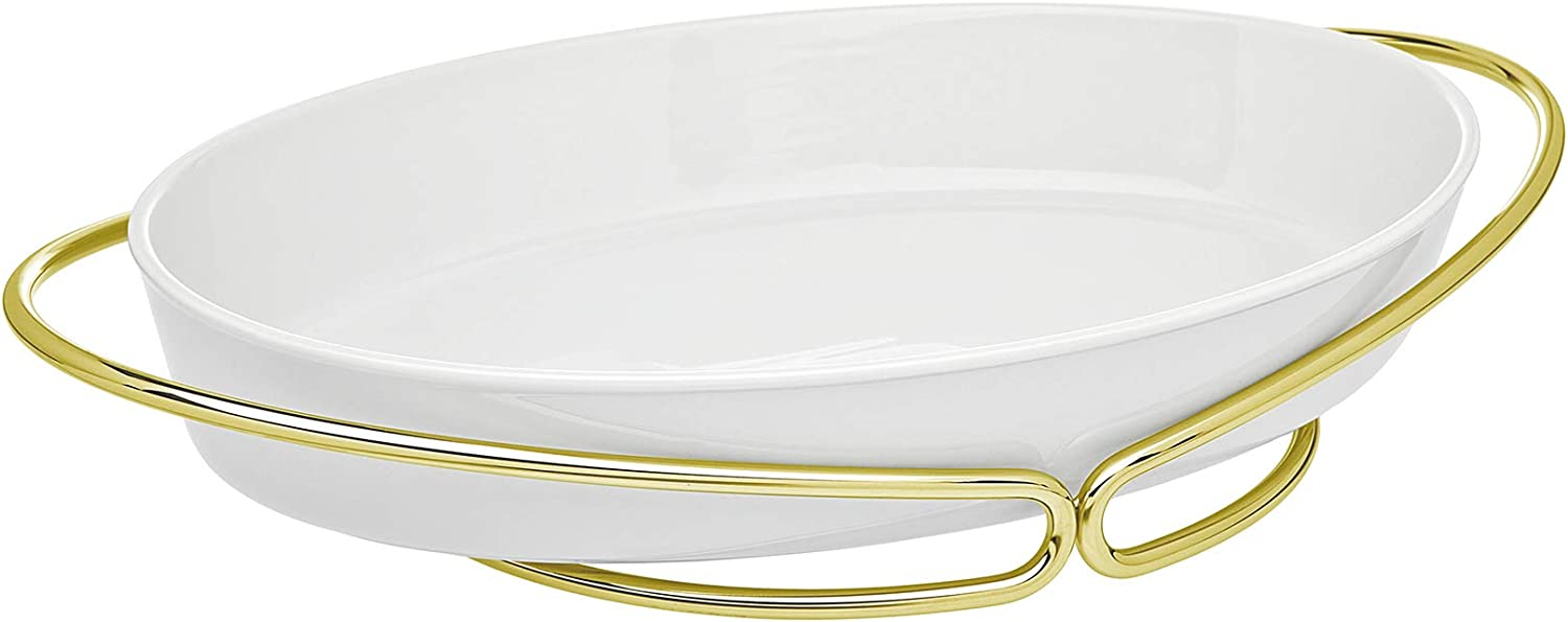 Oven to Table Porecelain Oval Baker, Warmer, Serving Piece with Woven Gold Base