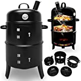BBQ Charcoal Barbecue Smoker Round Grill Heat Indicator Thermometer 3 in 1 - Garden Gift Set