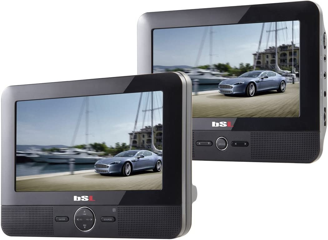 BSL 7D - DVD Portátil para coche, 2 Pantallas (LCD TFT 7 pulgadas), USB, lector de tarjetas SD, color negro