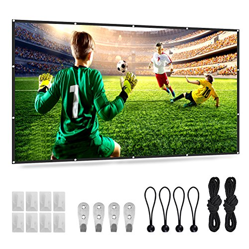 Portable Projector Screen 120inch 16:9 HD, AYIYA Foldable Anti-crease Outdoor & Indoor Movie Screen for Home Theater, Meeting etc. -2.5Lbs by AYIYA