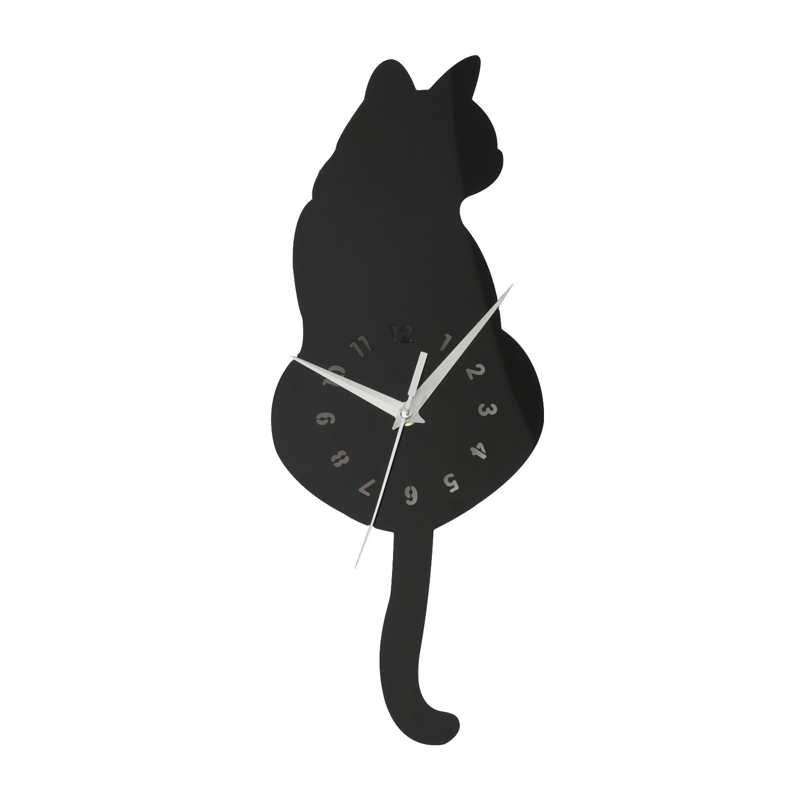 3D Cat Clock Appearance Wall Sticker DIY Eco-Friendly Fashionable Wall Decals Bedroom Living Room Wall Decoration Black