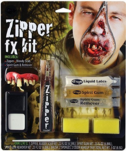 Deluxe Horror Halloween Makeup Zombie FX Zipper Kit Accessory by The Dragons (Halloween Dragon Makeup)