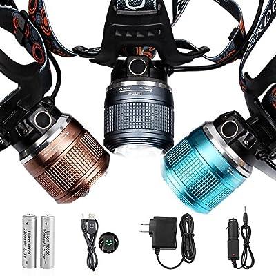 Max 2000 Lumens Adjustable LED Headlamp Headlight, Zoomable Spot Light Flood Light, Handsfree Waterproof Flashlight for Camping Running Hiking Reading Cycling Hunting Fishing