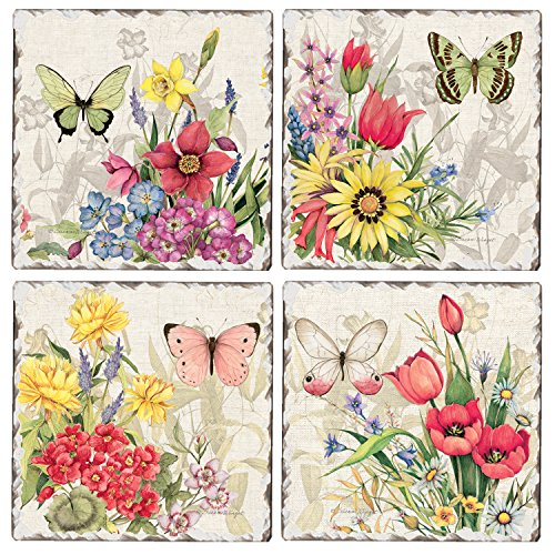 (CounterArt Set of 4 Assorted Tumbled Tile Coasters, Butterfly Florals )