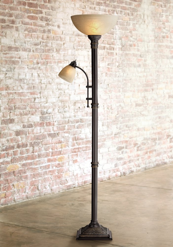 Garver bronze torchiere floor lamp with reader arm amazon com