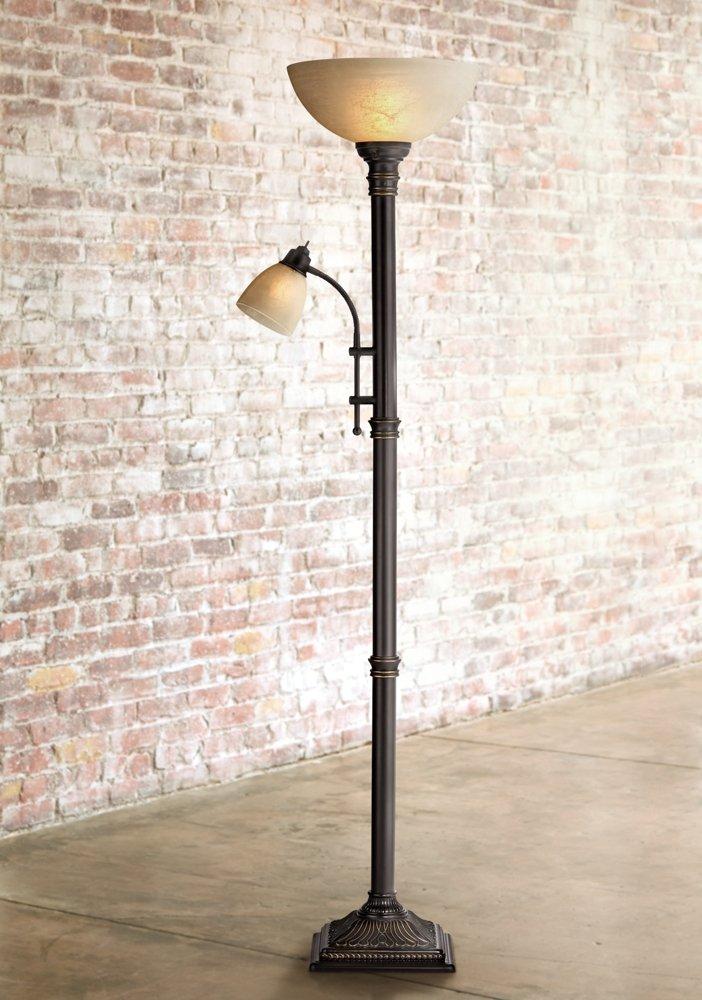 Garver Bronze Torchiere Floor Lamp with Reader Arm - - Amazon.com