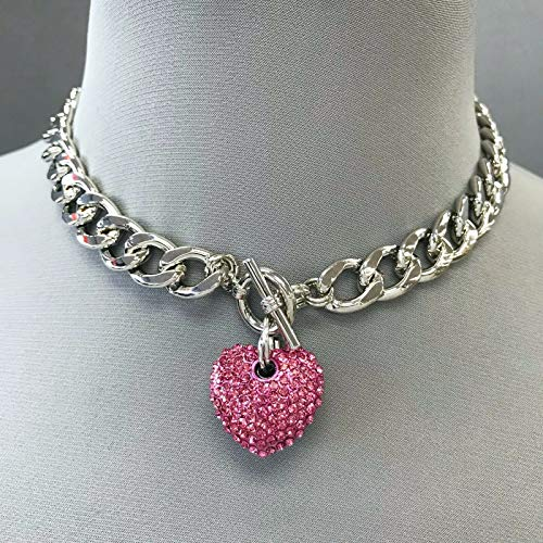 Silver Finished Chain Choker Style Pink Rhinestones Heart Shape Pendant Necklace LL-1291