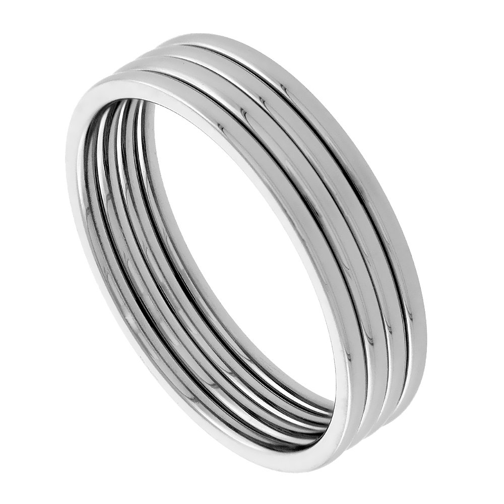 Surgical Stainless Steel Knuckle Ring Set of 4 Midi Stacking Rings 1mm Polished Comfort Fit, size 3