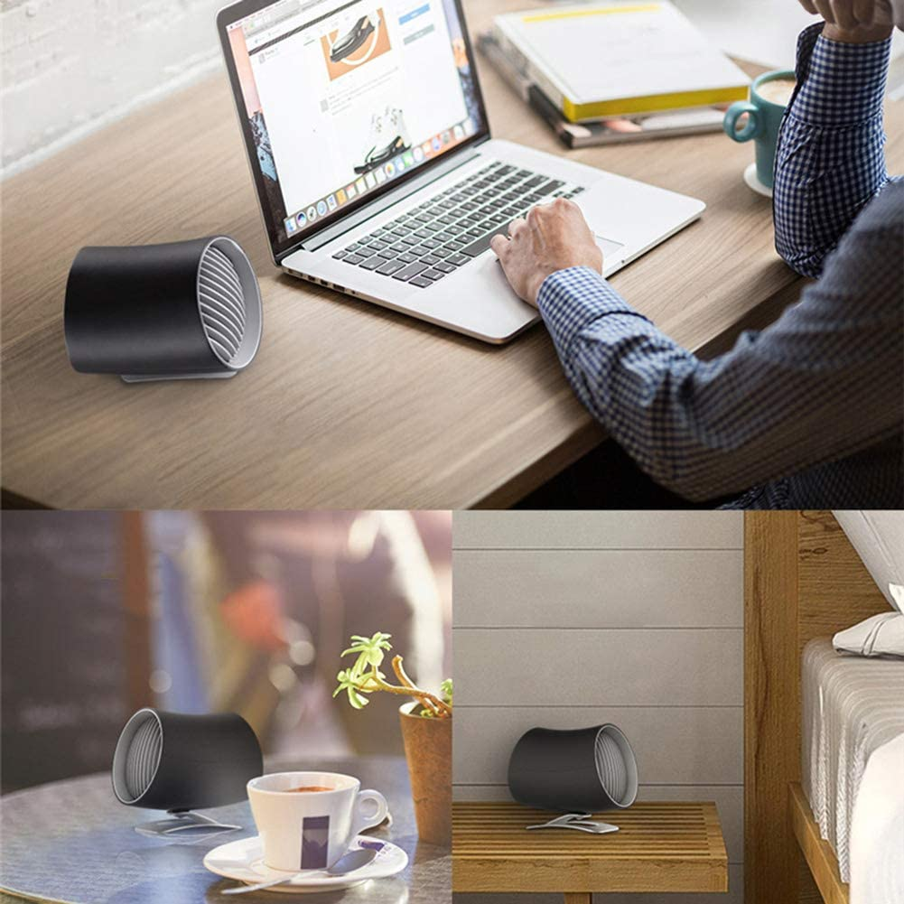Mini Cooling Fan Mini Portable Quiet USB Desk Fan Home Office Dorm Summer Electric Air Cooler for Household Outdoor Traveling BBQ Black