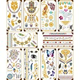 10 Sheets Metallic Temporary Tattoos, Luxsego 140+ Designs Fake Shimmer Jewelry Tattoo, Henna Tattoos Stickers with Multi-Color Shimmer Flowers, Elephant, Boho, Bracelets, Feathers & More