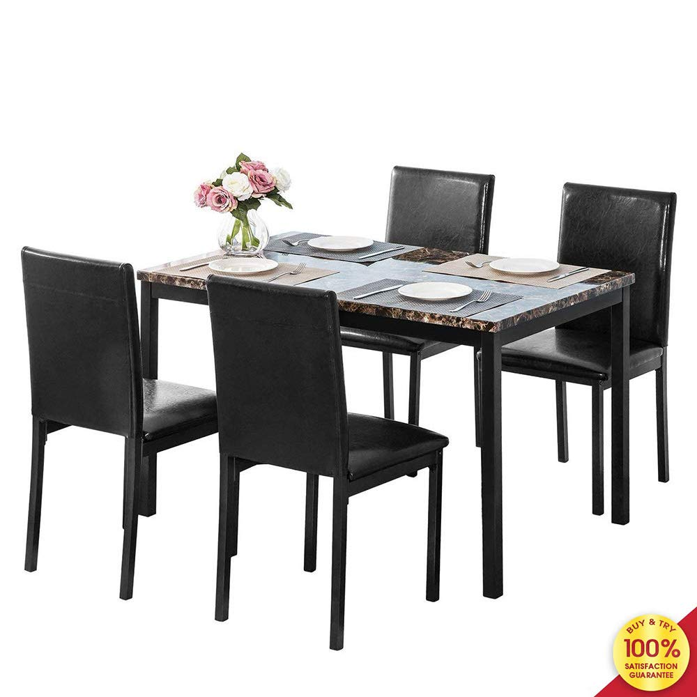5-Piece Faux Mable and PU Leather Dining Set, Oak 1 by Hooseng