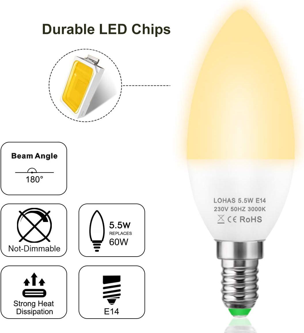 60W Equivalent 500LM E14 LED Candle Bulbs C37 Small Edison Screw ...