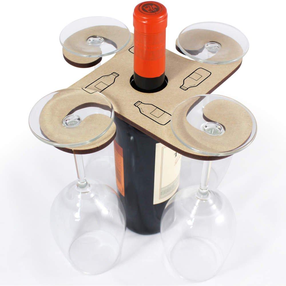 Azeeda 'Bottiglia di Birra' Porta Bicchiere di Vino in Legno (GH00038592)