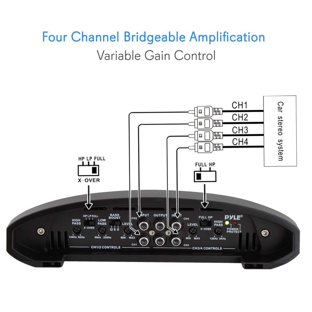 Pyle PLAM1600 4.0 Coche Alámbrico Negro, Azul - Amplificador de audio (4.0 canales, 1600 W, 0,04%, 90 dB, 15-30000 Hz, 2974 mm): Amazon.es: Electrónica