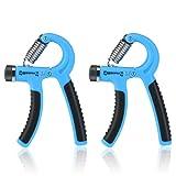 BESTOMZ 2 Stück Handtrainer Fitness Fingerhantel Fingertrainer Handgriff 20-88 Lbs (10-40 kg) Einstellbar Blau