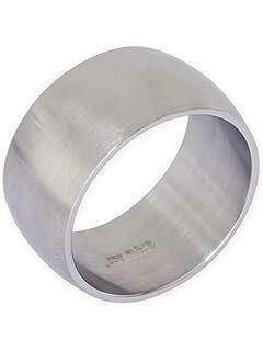 Large TATA Gisele© anello mista donna/uomo in acciaio inox argentato lucido specchio 10mm