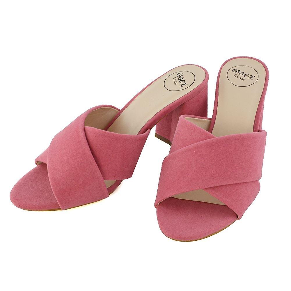 d7767a6be1d63 ESSEX GLAM Damen Blockabsatz Pantoletten Offene Sandalen Überqueren  Schlüpfen Peep Toe Schuhe