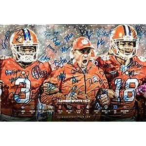Poster – College Football Clemson Tigers – 2018 Schedule -Team Signatures Autograph Replica Super Print