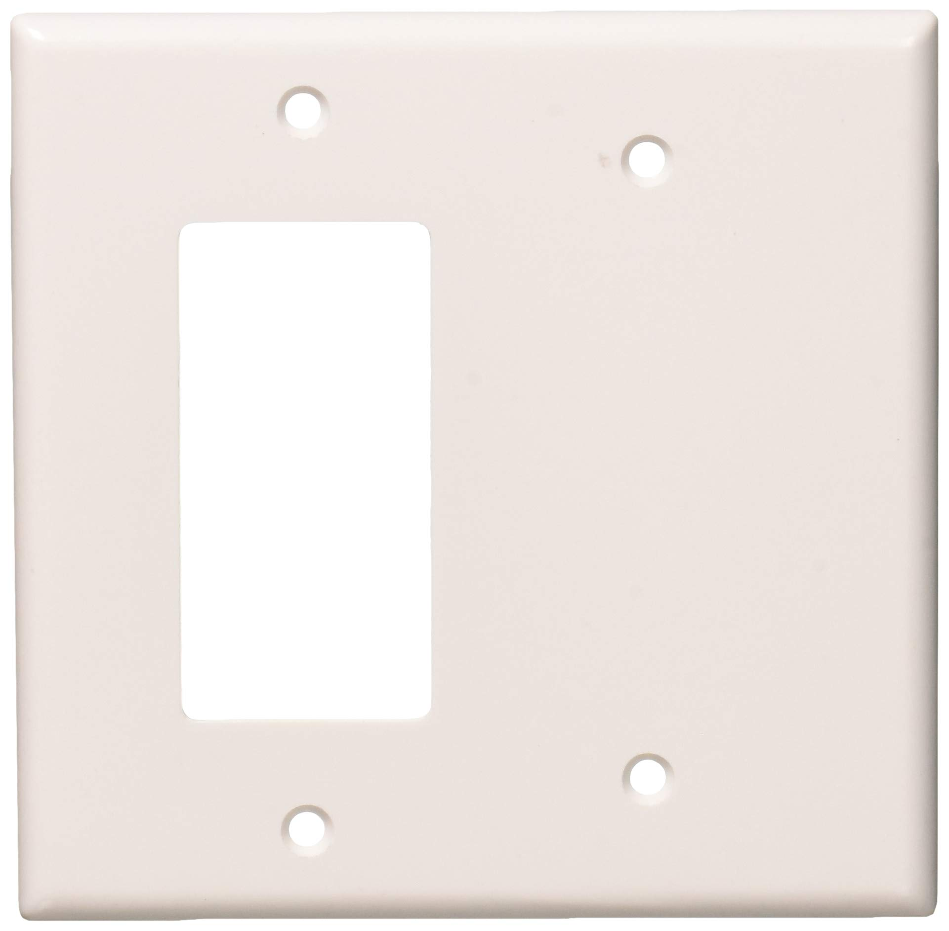 Leviton 80608-W 2-Gang 1-Blank 1-Decora/GFCI Device Combination Wallplate, Midway Size, Thermoset, White, 25-Pack