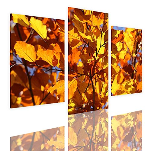 Alonline Art Range Of Orange Leaves Split 3 Panels FRAMED ST
