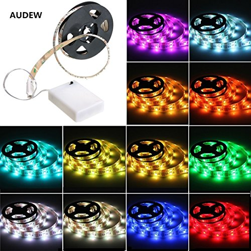 LED Strip Lights,AUDEW 1.65ft RGB SMD 5050 15 LED Flexible Light Strip with Battery Box Waterproof for Home Outdoor Lighting Craft Hobby Light Decoration 3.6W 50CM