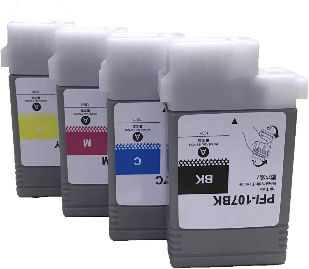 iPF680 4-Pack, Black, Cyan, Magenta, Yellow iPF780 KLDink Compatible PFI-107 // PFI107 Ink Cartridge for ImagePROGRAF iPF670 iPF785 iPF770 iPF685