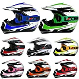 Leopard LEO-X16 Kids Motocross HELMET & GOGGLES - Black S (49-50cm) - Children Cub Dirt Quad Bike MX Motorbike Helmet