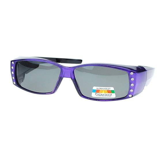 cbdd381a37 Womens Polarized Fit Over Glasses Sunglasses Rhinestones Rectangle Purple