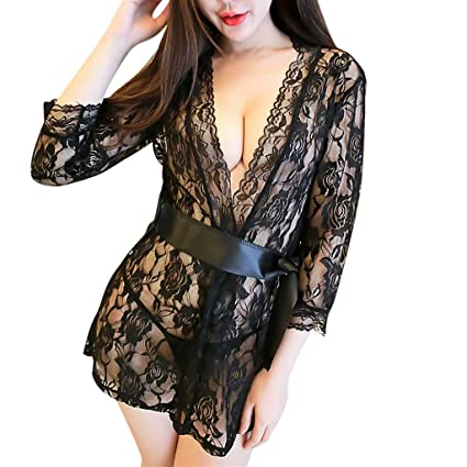 e96c55fa74 Women Sheer Eyelash Lace Nightgown Kimono Robe Babydoll Lingerie Mesh  Nightdress Sleepwear Rash Guard (Black