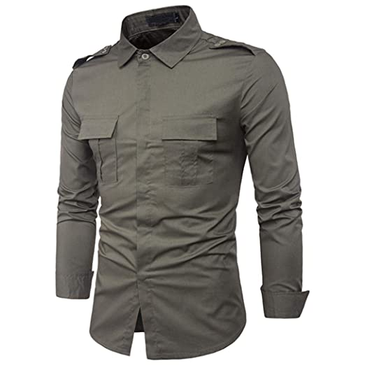 6a18dcad3 Military Shirt Binmer Mens Long Sleeve Military Combat Shirts Casual Cotton Slim  Fit Button Down Shirt