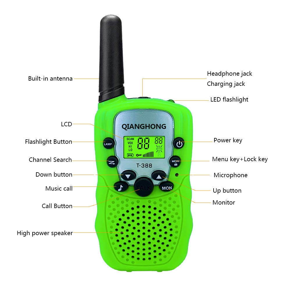 Qianghong T3 Kids Walkie Talkies 3-12 Year Old Children's Outdoor Toys Mini Two Way Radios UHF 462-467 MHz Frequency 22 Channels - 1 Pair Green by Qianghong (Image #3)