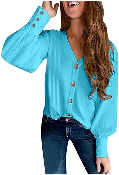 Blusa Casual Mujer Camisas Mangas Largas Botones Blusas Básicas Color Sólido Cuello V Otoño Invierno Camisetas Sueltas Camisa Tops Shirt Originales para Fiesta Oficina Trabajo RISTHY: Amazon.es: Ropa y accesorios