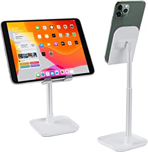 Cell Phone Stand with Tray, SILINICE Non Slip Height Adjustable Desktop Phone Holder Stand 0-45 Degree Angle Adjustable Tablet Holder for All Smartphones, Tablets - White