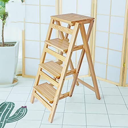 YYHSND Escalera escalera cuatro niveles taburete plegable cocina escalera silla dormitorio multifunción hogar hogar flor estante escalera retráctil gabinete estante de almacenamiento negro Taburete: Amazon.es: Hogar