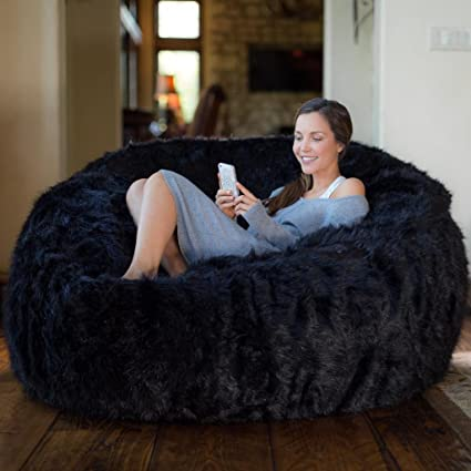 Incredible Comfy Sacks 5 Ft Memory Foam Bean Bag Chair Black Furry Dailytribune Chair Design For Home Dailytribuneorg