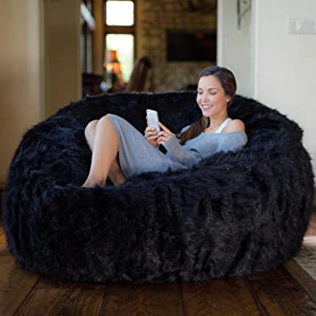 Comfy Sacks 5 Ft Memory Foam Bean Bag Chair Black Furry