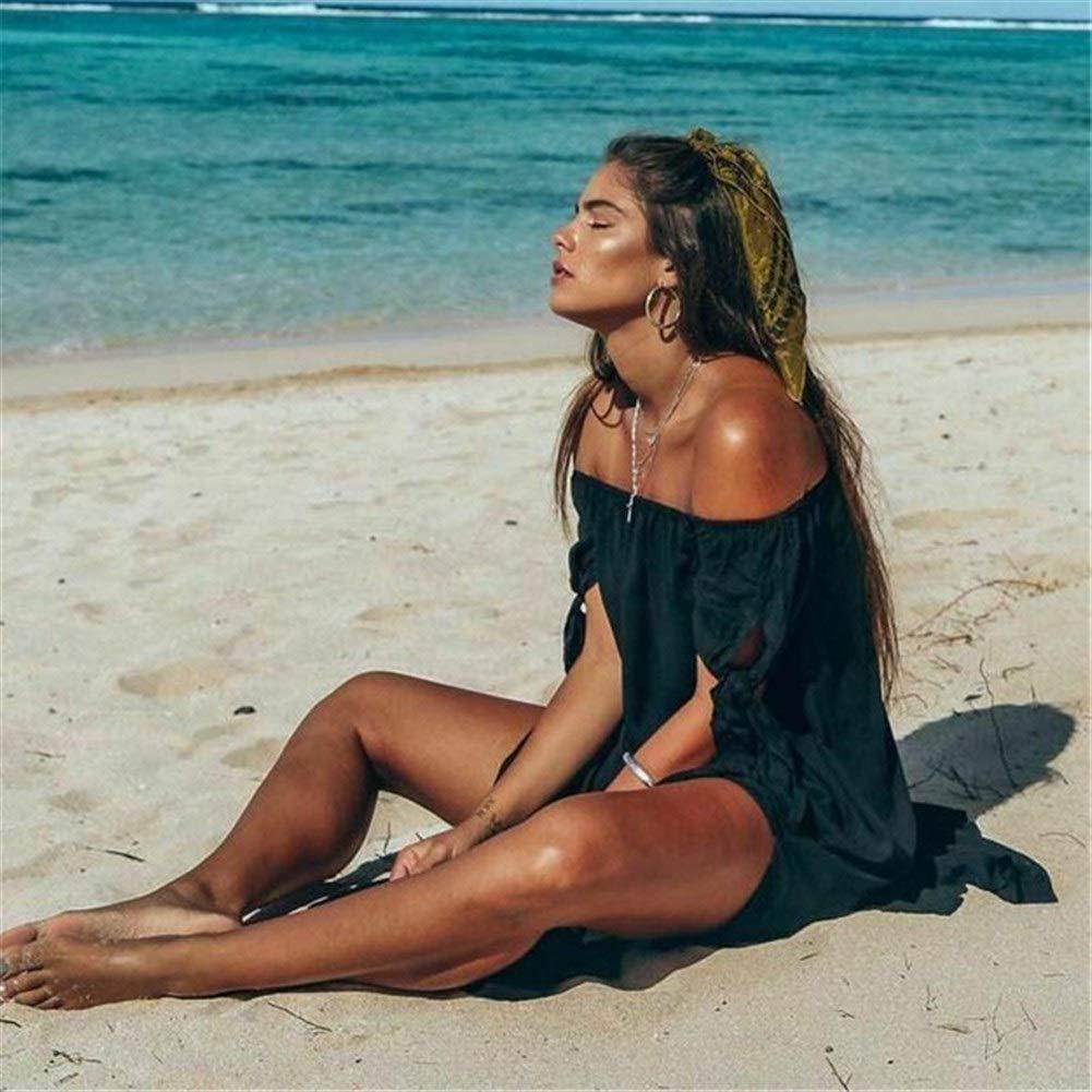noir S LTGJJ Robe de Vacances Mot épaule Robe Big Swing Open Décontracté Grande Taille plagewear chemisier Long Off-The-Shoulder Maillot de Bain Wrap Peignoir Robe Bikini chemisier Femme