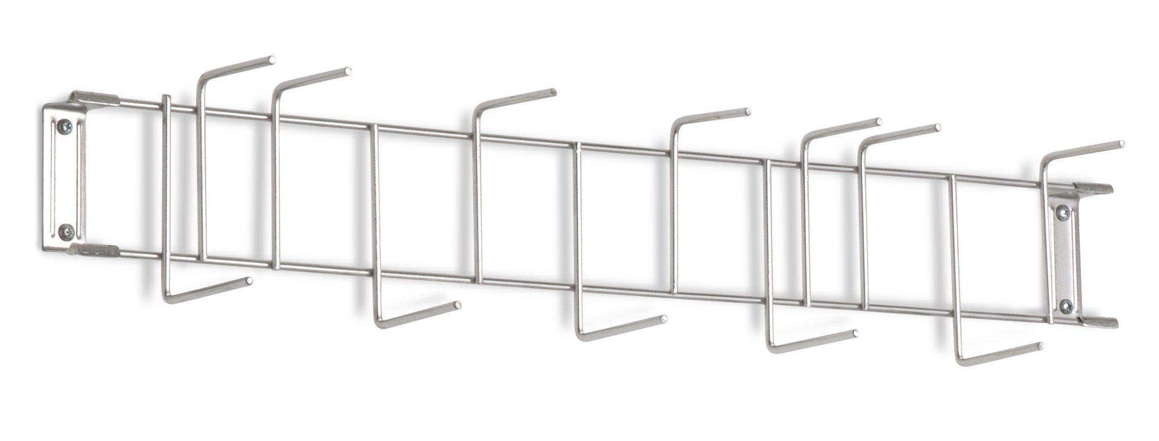 Horizon 4081 26'' Steel Utility Sanitation Brush Rack with 12 Hooks, 26-1/4'' Width x 6-1/2'' Height x 4'' Depth, Stainless Steel
