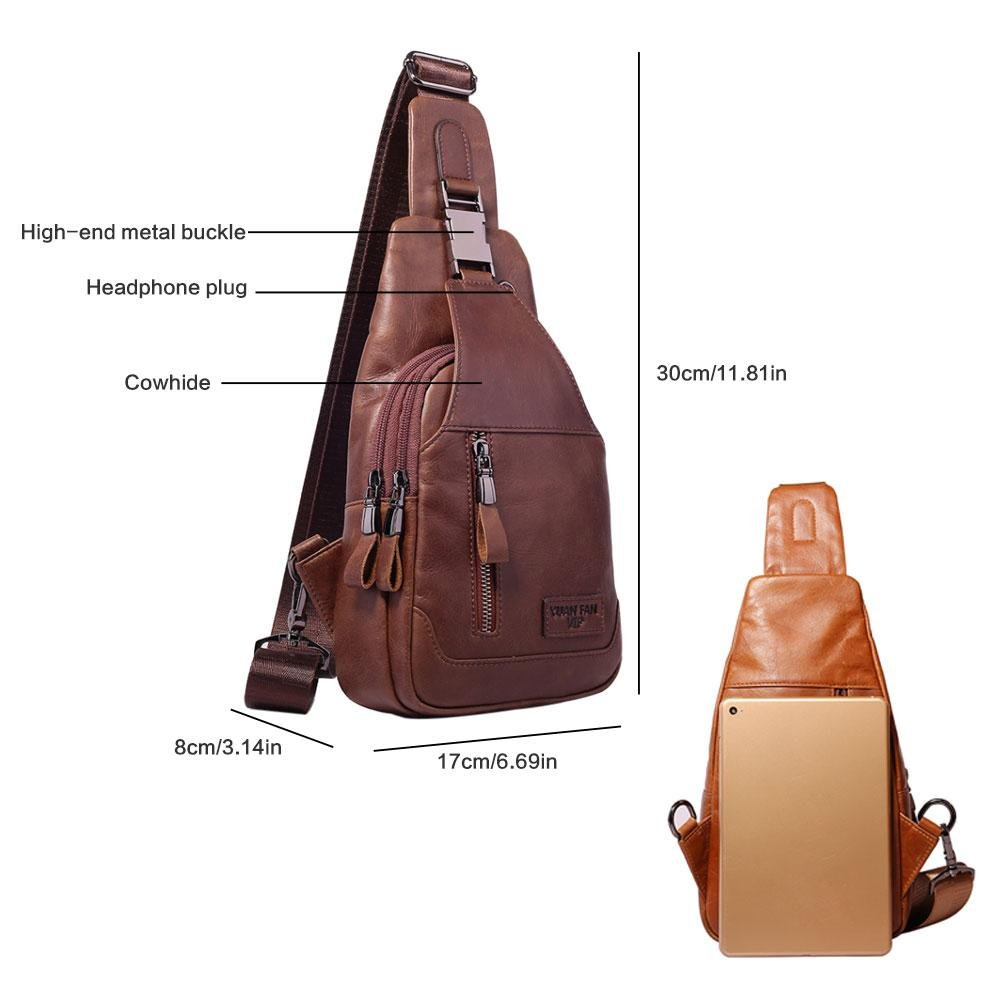 Amazon.com: Men Chest Bag, KOBWA Genuine Leather Men Single Shoulder Bag Sling Bags Backpack Men Sling Bag for Casual Leisure Outdoor Travel Hiking Working ...