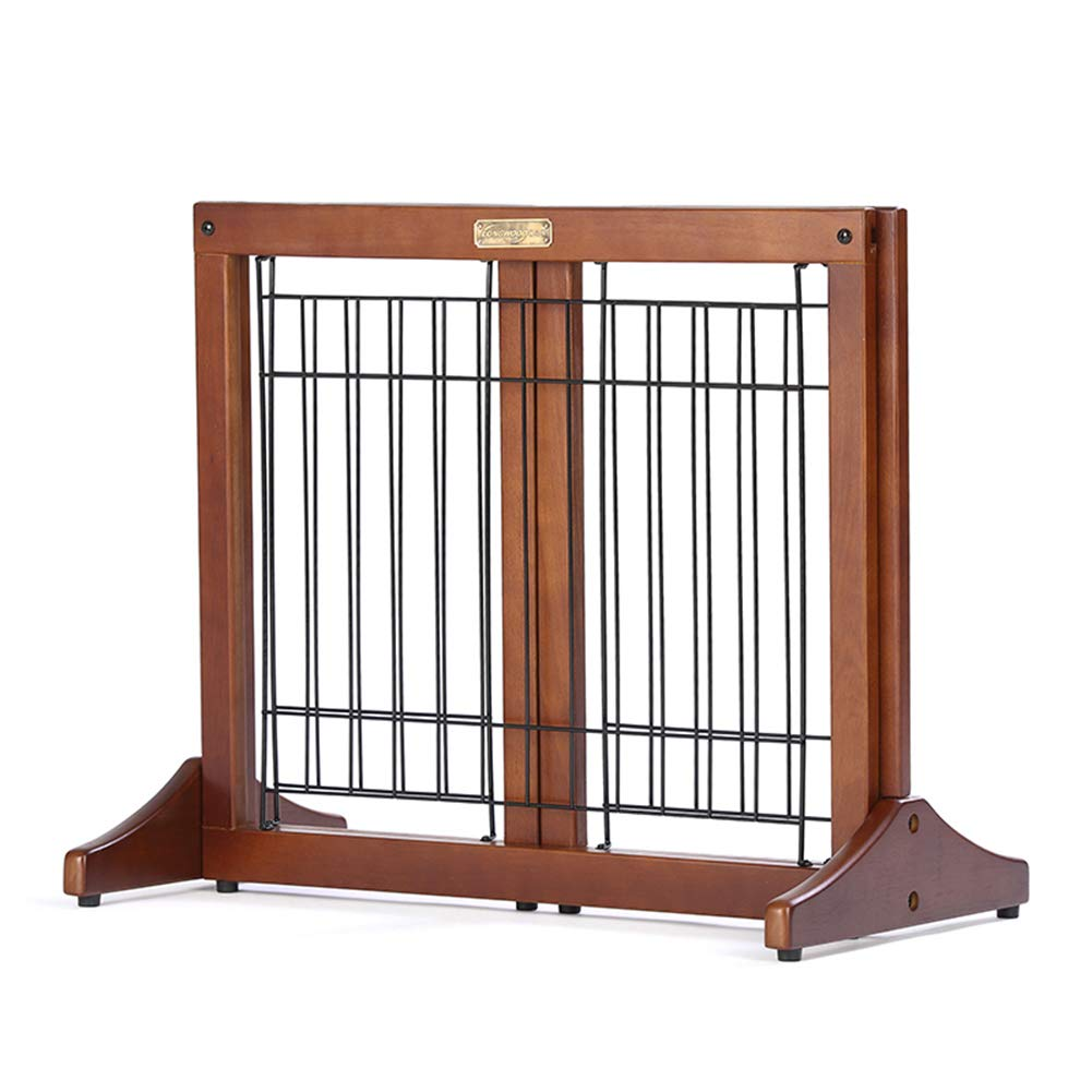 (60-110cm)×51cm Pet Fence Stretchable Safety Dog Gate Bar, Free Standing Wooden Pet Gates for Kids Or Pets with Safety Gate (Size   (60-110cm)×51cm)