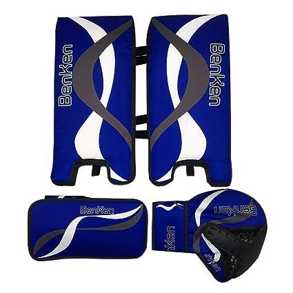 29f875c7961 BenKen Sports Hockey Gear Goalie Pad Pack Ice Hockey Equipment Teenager  &Adult Blue Black (Blue